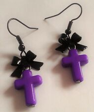 Purple Cross, Pastel Goth Earrings with Black Bows. Gothic Lolita. Scene. Emo.