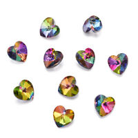 10x Colorful Faceted Heart Charm Electroplated Glass Pendants Silver Plated 14mm