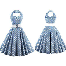 Womens Belted Vintage Retro Polka Dot 50s 60s Rockabilly Pinup Dance Swing Dress