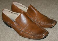 Steve Madden Slip On Loafers Shoes Brown Leather Career Casual Mens Size 9.5