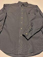 POLO RALPH LAUREN STRIPED BLUE DRESS SHIRT SIZE 17 34/35