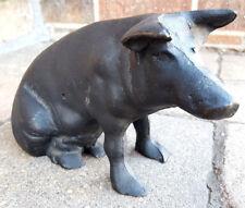 Vintage Cast Iron Sitting Pig Piggy Bank / Door Stopper Heavy NICE-Farm Animal