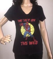Juniors Large Vintage Style Marvel Comics Spider-Man T-Shirt We Met On The Web