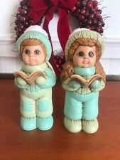 Rare Vintage Ceramic Hand Painted Dona Child Christmas Carolers W/ Fuzzy Hats