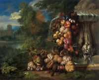"""oil painting handpainted on canvas """"Still life with Fruit in a Landscape""""@NO6399"""