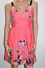 aftershock London Brand Coral Embroidered Floral Day Dress Size L BNWT #TG59
