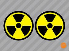 4 x radiation symbole autocollants/nucléaire autocollants/radiation decals