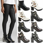 NEW WOMENS LADIES CHELSEA CUT OUT LOW BLOCK HEEL ANKLE BOOTS BUCKLE SHOES SIZE