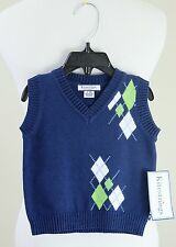 NWT KITESTRINGS by Hartstrings Blue Argyle Sweater Vest, Baby Boy 6-9 months $46
