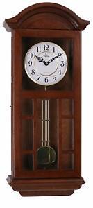 "Nice Wooden Silent Wall Clock Pendulum Ornate Modern Traditional 27"" 11.5"" 4.75"""