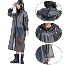 Adult Raincoat Unisex Transparent Waterproof Plastic Reusable Rain Poncho