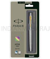 Parker Jotter Stainless Steel GT Ball point Pen New Gold Trim Blue Ink Ballpoint