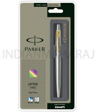 Parker Jotter Stainless Steel GT Ball point Pen New Gold Trim Blue Ink Ballpoint
