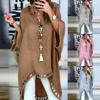 Women Cotton Linen Blouse Ladies Long Sleeve Casual Tops Plain Hem Tunic Shirts