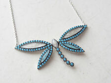 DRAGONFLY TURKISH 925K STERLING SILVER TURQUOISE ENAMEL HANDMADE NECKLACE
