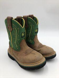 John Deere Cowboy Boots Boys Toddler Size 10M Tan/Green Western Kids JD2186