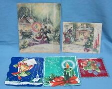 5 Vintage Christmas Cards 1940's - 1950's