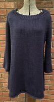 Soft Surroundings Navy Blue Sz M Oversized Tunic Top Sweater Chunky Cable Knit
