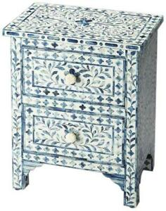 ACCENT CHEST OF DRAWERS CONTEMPORARY BLUE DISTRESSED MANGO RESIN BONE