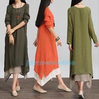 New Womens Boho Loose Cotton Linen Maxi Dress Long Sleeve Tops Blouse Plus Size