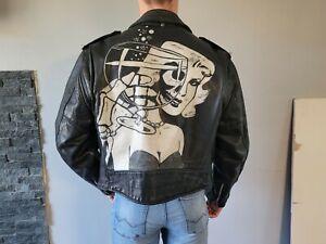 Vintage Schott Perfecto Custom Painted Leather Misfits Jacket Size 44
