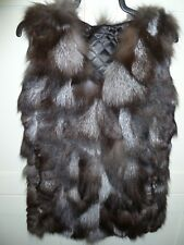 """Ladies real soft silver fox fur gilet quilted lined bust 36"""" UK 8 length 29"""""""