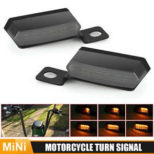 2X Mini Motorcycle LED Turn Signal Indicator Light Blinker Sequential Lamp Smoke