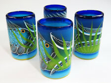 Mexican Glasses, hand blown, hand painted FISH design 16 oz, (4)