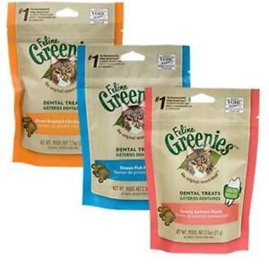 THREE PACK - Feline Cat Greenies Chicken Salmon Tuna Flavours 60gm Packets x 3