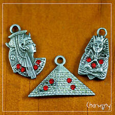 Egyptian charms w Rhinestones ~ great pyramid queen pharaoh antique silver egypt