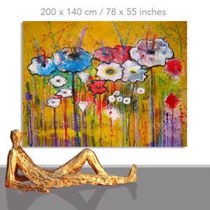 FLOWER PAINTINGS # FLORAL ART WALL DESIGN CANVAS DECOR FLORAL BLUES* 78 x 55