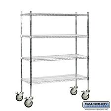 Mobile Wire Shelving Unit 48in Wide X 69in X 18in Chrome General Purpose Storage