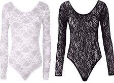 Ladies Women Lace Insert Bodysuit Long Sleeve Plain Stretch Top Leotard PlusSize