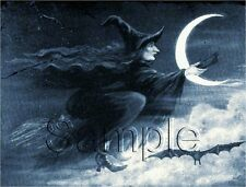 VINTAGE UGLY WITCH FLYING BROOM MOON BAT BLUE WITCHCRAFT WICCA CANVAS PRINT BIG