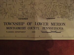 Antique 1961 Map of LOWER MERION Township, Montgomery COUNTY PA MINT CONDITION