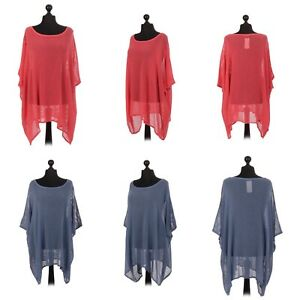 Italian cotton mesh batwing top. One size (16-26). Blue or coral.