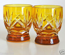 Pair Faberge Na Zdorovye Vodka Shot Glasses Yellow Gold Cased Crystal Signed