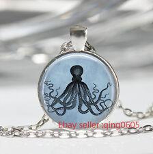 Vintage octopus Cabochon Tibetan silver Glass Chain Pendant Necklace #T87