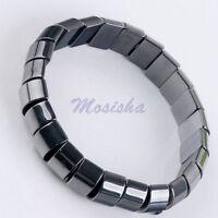 "1x 7""L Stretchy Natural Magnetic Hematite Semi Round Bead Bangle Bracelet Gift"