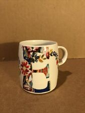 ANTHROPOLOGIE Starla M. Halfmann Letter E Floral Flower Coffee Mug Cup 14oz