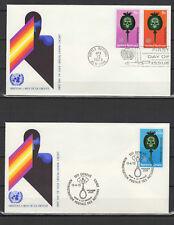Nations Unies New York & Genève 2 FDC tampon à date 1973 /B5Nc