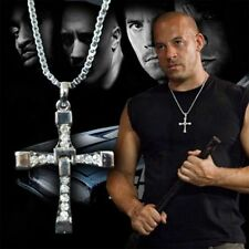Da uomo Croce D'argento Catenina Collana Fast and Furious Film Dominic Toretto