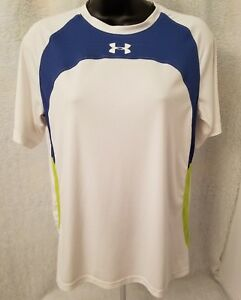 Under Armour Boys White Green Blue Heat Gear Shirt Top Size L