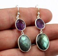 Labradorite Amethyst Gemstone Daily Wear Gift Earring Solid 925 Sterling Silver