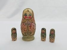 Russian Matryoshka Babushka Nesting Dolls Signed 4 Piece Carved Wood Hand Paint