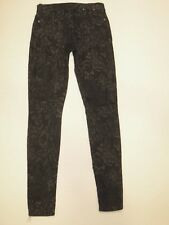 7 for all Mankind Jeans The Skinny Ankle in Black & Gray Flower Print Sz 25