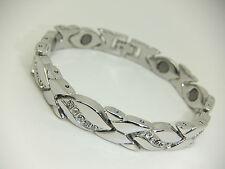 Womens Silver Colour Magnetic Bracelet With Clear Diamante Gem Stones Arthritis