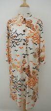 vtg 60s 70s VANITY FAIR Asian style Printed Robe S nylon house dress lotus root