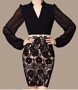 Quality Chiffon / Lace Black Dress - Size 8, 10 - Stunning - Cocktail