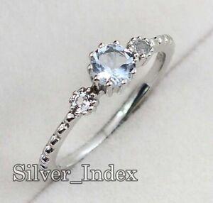 Aquamarine Natural 5MM Round Gemstone 925 Sterling Silver Wedding Ring For Women